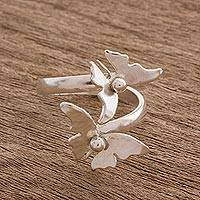 Sterling silver wrap ring, 'Shimmering Butterflies' - Sterling Silver Butterfly Wrap Ring from Costa Rica