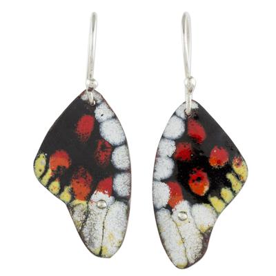 Enameled copper dangle earrings, 'Amazing Wings' - Copper Butterfly Wing Dangle Earrings from Costa Rica