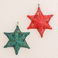 Recycled paper ornaments, 'Shine Again' (pair) - Red and Green Recycled Paper Star Ornaments (Pair)