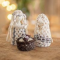Cotton macrame nativity scene, 'Peaceful Trio' (4 pieces) - Natural Cotton Handmade Macramé Nativity Scene (4 Pieces)