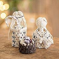 Cotton macrame nativity scene, 'Hopeful Arrival' (4 Pieces) - 4-Piece Handcrafted Cotton Macramé Nativity Scene