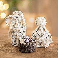 Cotton macrame nativity scene, 'Hopeful Arrival' (4 Pieces) - 4-Piece Handcrafted Cotton Macramé Nativity Scene