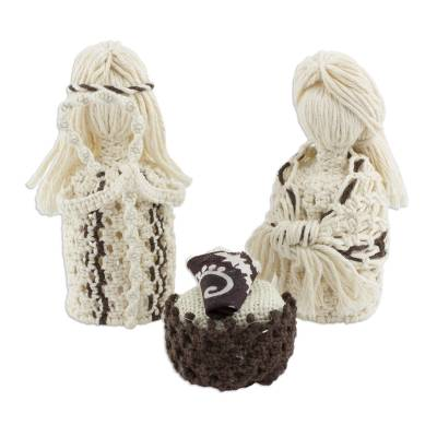 4-Piece Handcrafted Cotton Macram?�?� Nativity Scene