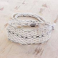 Cotton macramé headband, 'Eyelets' - Handcrafted White with Grey Stripe Cotton Macramé Headband