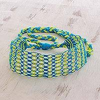 Cotton macramé headband, 'Grassy Shores' - Handcrafted Yellow and Blue Stripe Cotton Macramé Headband