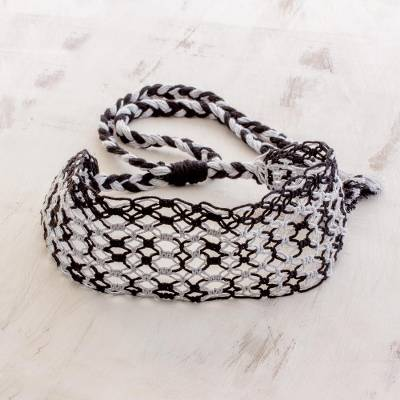 Cotton macramé headband, 'Moonlit Ripples' - Handcrafted Black and Grey Stripe Cotton Macramé Headband
