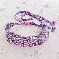 Cotton macramé headband, 'Cotton Candy Swirl' - Handcrafted Blue and Pink Stripe Cotton Macramé Headband
