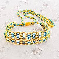 Cotton macramé headband, 'Golden Shores' - Handcrafted Blue and Yellow Stripe Cotton Macramé Headband