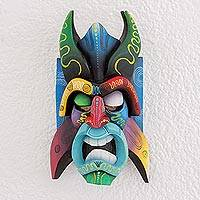 Wood mask, 'Boruca Heritage' - Multi-Color Wood Decorative Boruca Devil Mask