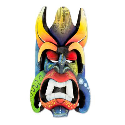 Wood mask, 'Boruca Devil' - Multi-Color Wood Decorative Boruca Devil Mask