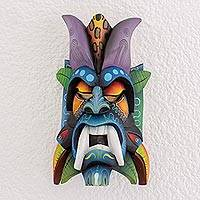Wood mask, 'Boruca Revival' - Multi-Color Wood Decorative Boruca Devil Mask