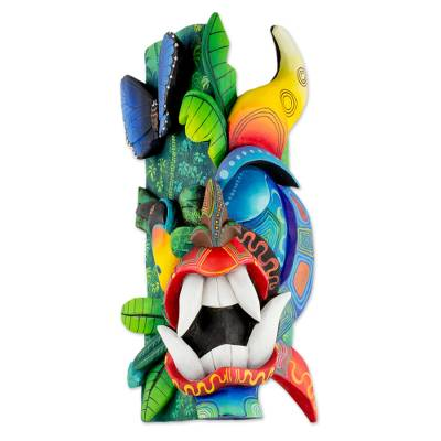 Wood mask, 'Twisted Beauty' - Multi-Color Wood Boruca Toucan Devil Mask