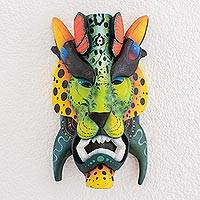 Wood mask, 'Jungle Life' - Multi-Color Wood Decorative Boruca Devil Mask with Animals