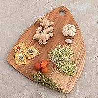 Teakwood cutting board, 'Form and Function' - Sustainably Harvested Teakwood Rounded Edge Cutting Board