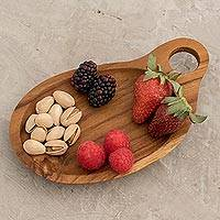 Teakwood serving tray, 'Hearty' - Sustainably Harvested Teakwood Free Form Serving Tray