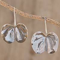 Sterling silver drop earrings, 'Hawaiian Orchid Leaf' - Sterling Silver Hawaiian Orchid Leaf Drop Earrings