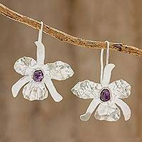 Amethyst drop earrings, 'Cattleya Orchid' - Handcrafted Sterling Silver Amethyst Orchid Drop Earrings