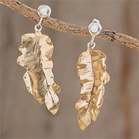 Bronze dangle earrings, 'Platanillo Leaves' - Bronze Heliconia Leaf Dangle Earrings from Costa Rica