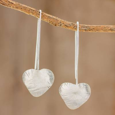 Sterling silver drop earrings, Valentine Flora