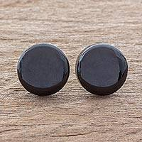 Art glass button earrings, 'Evening Pools' - Black Art Glass Circle Button Earrings from Costa Rica