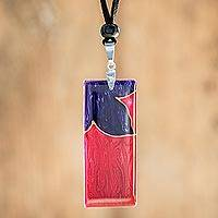 Art glass pendant necklace, 'Untamed Flower' - Purple Flower on Magenta Art Glass Pendant Necklace