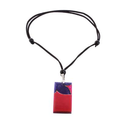 Purple Flower on Magenta Art Glass Pendant Necklace