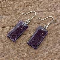 Art glass dangle earrings, 'Royal Turmoil' - Purple Rectangular Art Glass Dangle Earrings
