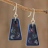 Art glass dangle earrings, 'Deep Sea Currents' - Blue Trapezoid Art Glass Dangle Earrings from Costa Rica