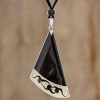 Art glass pendant necklace, 'Dance Fan' - Black Asymmetrical Triangle Art Glass Pendant Necklace