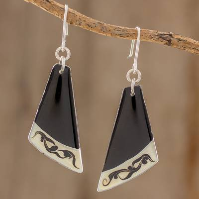 Art glass dangle earrings, 'Dance Fan' - Black Asymmetrical Triangle Art Glass Dangle Earrings