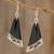 Art glass dangle earrings, 'Dance Fan' - Black Asymmetrical Triangle Art Glass Dangle Earrings thumbail