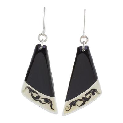 Black Asymmetrical Triangle Art Glass Dangle Earrings