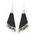 Art glass dangle earrings, 'Dance Fan' - Black Asymmetrical Triangle Art Glass Dangle Earrings (image 2a) thumbail