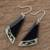 Art glass dangle earrings, 'Dance Fan' - Black Asymmetrical Triangle Art Glass Dangle Earrings (image 2b) thumbail