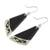 Art glass dangle earrings, 'Dance Fan' - Black Asymmetrical Triangle Art Glass Dangle Earrings (image 2c) thumbail