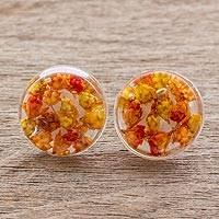 Natural flower button earrings, 'Eternal Bouquet in Orange' - Orange and Yellow Flower in Clear Resin Button Earrings