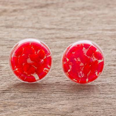 Natural flower button earrings, Eternal Bouquet in Red