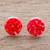 Natural flower button earrings, 'Eternal Bouquet in Red' - Red Flower in Clear Resin Button Earrings from Costa Rica thumbail