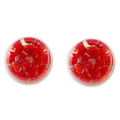 Red Flower in Clear Resin Button Earrings from Costa Rica