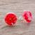 Natural flower button earrings, 'Eternal Bouquet in Red' - Red Flower in Clear Resin Button Earrings from Costa Rica (image 2b) thumbail