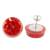 Natural flower button earrings, 'Eternal Bouquet in Red' - Red Flower in Clear Resin Button Earrings from Costa Rica (image 2d) thumbail