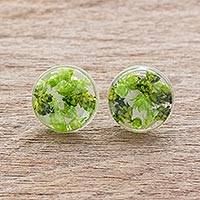 Natural flower button earrings, 'Eternal Bouquet in Green' - Green Flower in Clear Resin Button Earrings from Costa Rica
