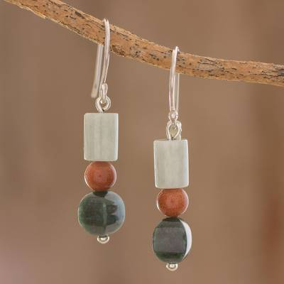 Jade and aventurine dangle earrings, 'Earthen Fruits' - Jade and Aventurine Dangle Earrings from Guatemala