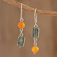 Jade and carnelian dangle earrings, 'Sunny Viridian' - Jade and Carnelian Dangle Earrings from Guatemala