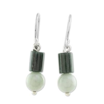 Bi-Color Jade Dangle Earrings Crafted in Guatemala