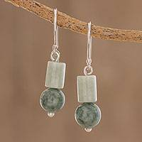 Jade dangle earrings, 'Frondy Forest' - Two-Tone Jade Dangle Earrings from Guatemala