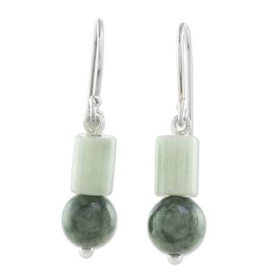 Jade dangle earrings, 'Frondy Forest' - Two-Tone Jade Dangle Earrings from Guatemala