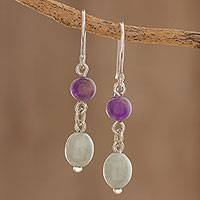 Jade and amethyst dangle earrings, 'Verdant Jacaranda' - Jade and Amethyst Dangle Earrings from Guatemala
