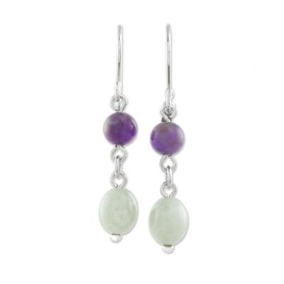 Jade and Amethyst Dangle Earrings from Guatemala