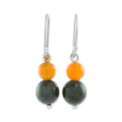 Jade and carnelian dangle earrings, 'Ancient Fruit' - Jade and Carnelian Dangle Earrings Crafted in Guatemala